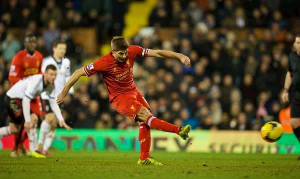 LONDON, ENGLAND - Wednesday, February 12, 2014: Liverpool's captain Steven Gerrard scores the third goal against Fulham from the penalty spot during the Premiership match at Craven Cottage. (Pic by David Rawcliffe/Propaganda)