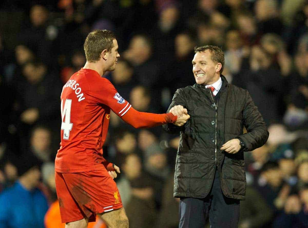 LONDON, ENGLAND - Wednesday, February 12, 2014: Liverpool's manager Brendan Rodgers celebrates his side's dramatic 3-2 victory over Fulham with Jordan Henderson during the Premiership match at Craven Cottage. (Pic by David Rawcliffe/Propaganda)