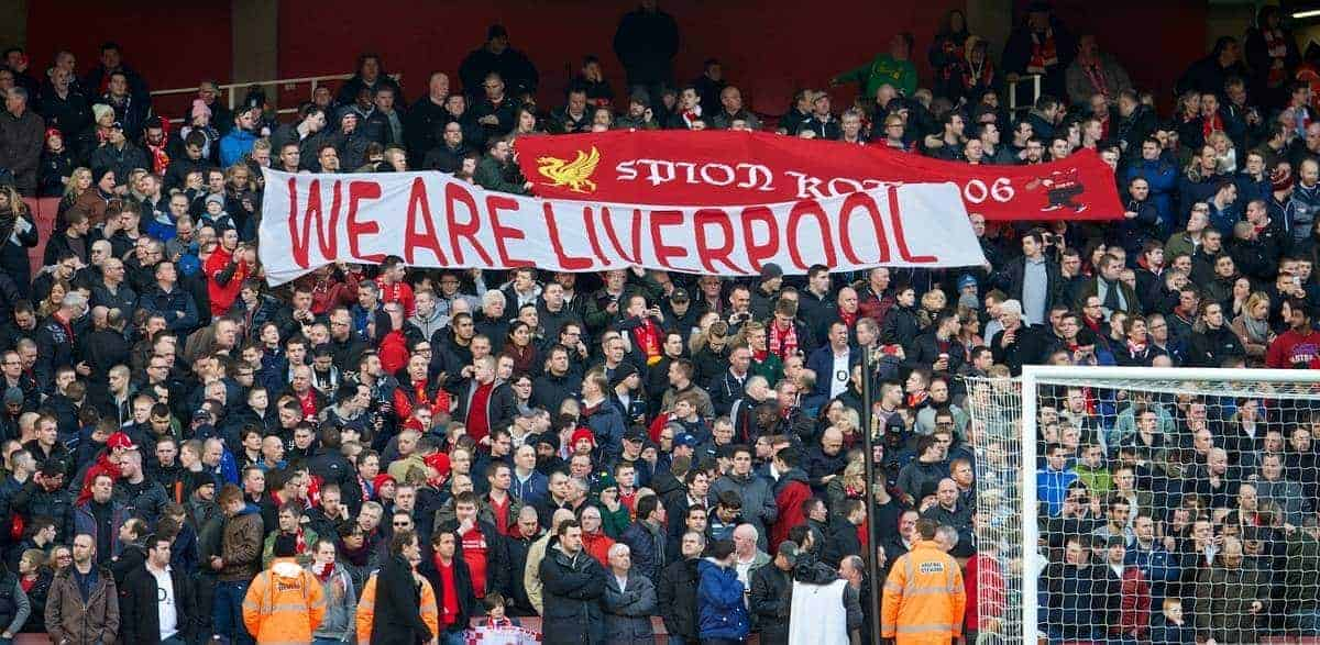 LONDON, ENGLAND - Sunday, February 16, 2014: Liverpool supporters before the FA Cup 5th Round match against Arsenal at the Emirates Stadium. (Pic by David Rawcliffe/Propaganda)