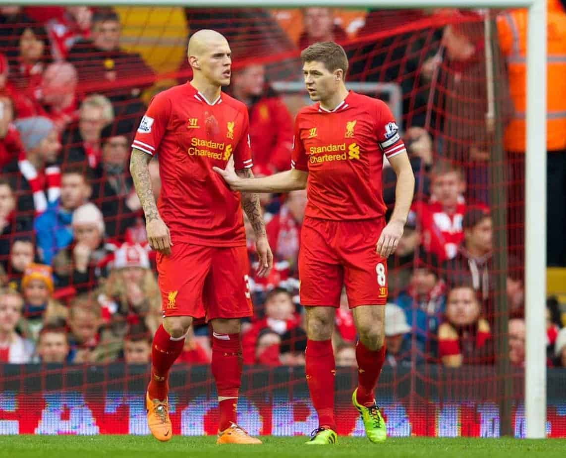 LIVERPOOL, ENGLAND - Sunday, February 23, 2014: Liverpool's Martin Skrtel looks dejected as Swansea City score the third goal during the Premiership match against Liverpoolg at Anfield. (Pic by David Rawcliffe/Propaganda)