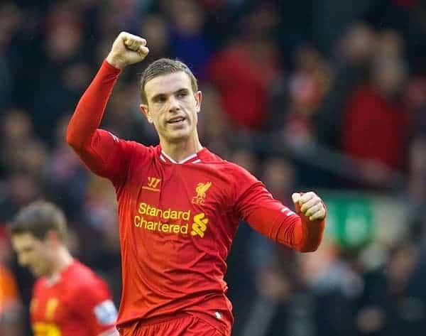 LIVERPOOL, ENGLAND - Sunday, February 23, 2014: Liverpool's Jordan Henderson celebrates after beating Swansea City 4-3 during the Premiership match at Anfield. (Pic by David Rawcliffe/Propaganda)