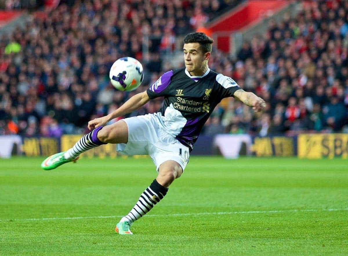SOUTHAMPTON, ENGLAND - Saturday, March 1, 2014: Liverpool's Philippe Coutinho Correia in action against Southampton during the Premiership match at St Mary's Stadium. (Pic by David Rawcliffe/Propaganda)SOUTHAMPTON, ENGLAND - Saturday, March 1, 2014: Liverpool's Philippe Coutinho Correia in action against Southampton during the Premiership match at St Mary's Stadium. (Pic by David Rawcliffe/Propaganda)