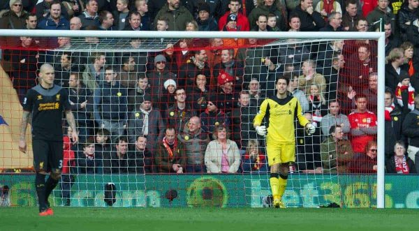 SOUTHAMPTON, ENGLAND - Saturday, March 16, 2013: Liverpool's goalkeeper Brad Jones looks dejected as Southampton score the opening goal during the Premiership match at St. Mary's Stadium. (Pic by David Rawcliffe/Propaganda)
