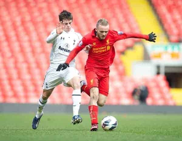 LIVERPOOL, ENGLAND - Easter Monday, April 1, 2013: Liverpool's Ryan McLaughlin in action against Tottenham Hotspur's Kenneth McEvoy during the Under 21 FA Premier League match at Anfield. (Pic by David Rawcliffe/Propaganda)