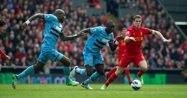 LIVERPOOL, ENGLAND - Sunday, April 7, 2013: Liverpool's Jordan Henderson in action against West Ham United during the Premiership match at Anfield. (Pic by David Rawcliffe/Propaganda)