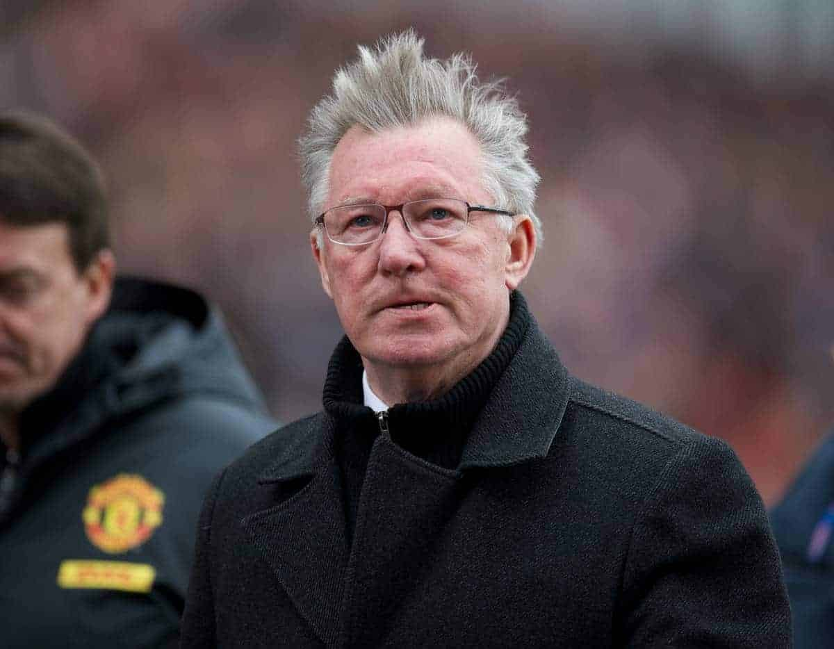 STOKE-ON-TRENT, ENGLAND - Sunday, April 14, 2013: Manchester United's manager Alex Ferguson during the Premiership match against Stoke City at the Britannia Stadium. (Pic by David Rawcliffe/Propaganda)
