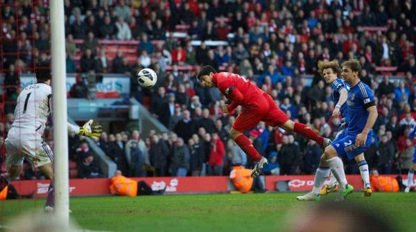 LIVERPOOL, ENGLAND - Sunday, April 21, 2013: Liverpool's Luis Alberto Suarez Diaz scores the second goal against Chelsea during the Premiership match at Anfield. (Pic by David Rawcliffe/Propaganda)