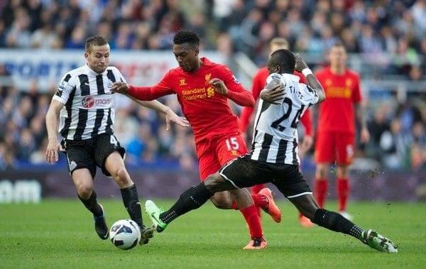 NEWCASTLE, ENGLAND - Saturday, April 27, 2013: Liverpool's Daniel Sturridge in action against Newcastle United during the Premiership match at St James' Park. (Pic by David Rawcliffe/Propaganda)