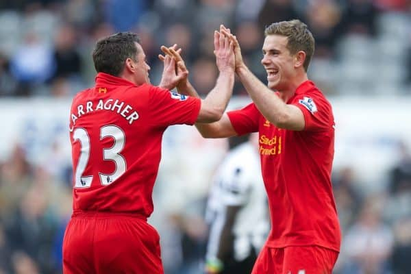 NEWCASTLE, ENGLAND - Saturday, April 27, 2013: Liverpool's Jordan Henderson celebrates scoring the sixth goal against Newcastle United during the Premiership match at St James' Park. (Pic by David Rawcliffe/Propaganda)