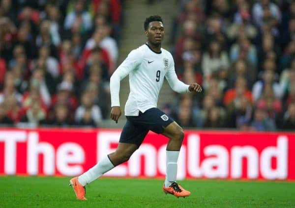 LONDON, ENGLAND - Wednesday, May 29, 2013: England's Daniel Sturridge in action against Republic of Ireland during the International friendly match at Wembley Stadium. (Pic by David Rawcliffe/Propaganda)