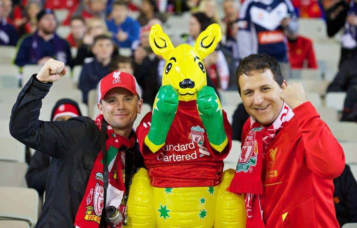 MELBOURNE, AUSTRALIA - Wednesday, July 24, 2013: Liverpool's supporters with a Kangaroo before a preseason friendly match against Melbourne Victory at the Melbourne Cricket Ground. (Pic by David Rawcliffe/Propaganda)