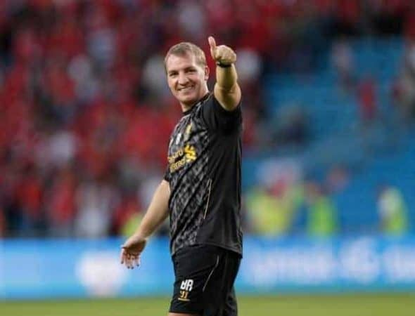 OSLO, NORWAY - Wednesday, August 7, 2013: Liverpool's manager Brendan Rodgers after the 4-1 victory over Valerenga during a preseason friendly match at the Ullevaal Stadion. (Pic by David Rawcliffe/Propaganda)