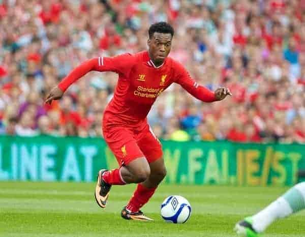 DUBLIN, REPUBLIC OF IRELAND - Saturday, August 10, 2013: Liverpool's Daniel Sturridge in action against Glasgow Celtic during a preseason friendly match at the Aviva Stadium. (Pic by David Rawcliffe/Propaganda)