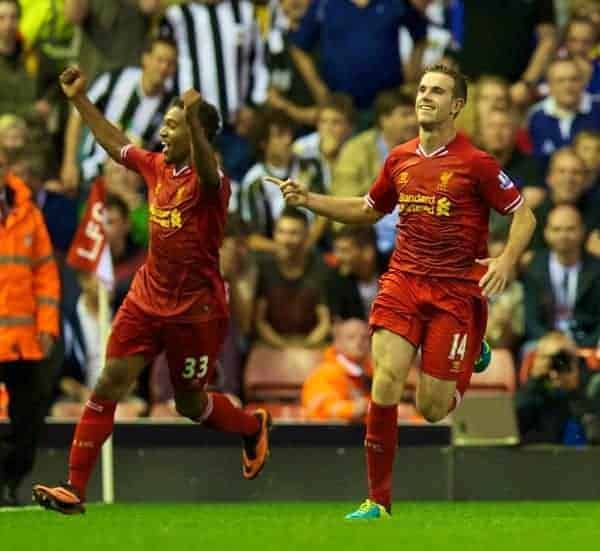 LIVERPOOL, ENGLAND - Tuesday, August 27, 2013: Liverpool's Jordan Henderson celebrates with team-mate Jordon Ibe after scoring his side's fourth goal against Notts County during the Football League Cup 2nd Round match at Anfield. (Pic by David Rawcliffe/Propaganda)