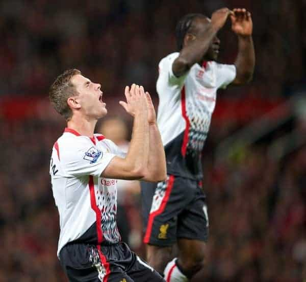 MANCHESTER, ENGLAND - Wednesday, September 25, 2013: Liverpool's Jordan Henderson looks dejected after missing a chance against Manchester United during the Football League Cup 3rd Round match at Old Trafford. (Pic by David Rawcliffe/Propaganda)
