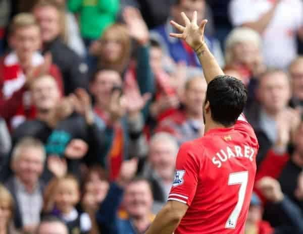LIVERPOOL, ENGLAND - Saturday, October 5, 2013: Liverpool's Luis Suarez celebrates scoring the first goal against Crystal Palace during the Premiership match at Anfield. (Pic by David Rawcliffe/Propaganda)