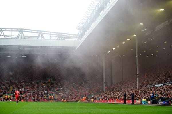 LIVERPOOL, ENGLAND - Saturday, October 5, 2013: Crystal Palace supporters setting off a smoke bomb in the game against Liverpool in the Premiership match at Anfield. (Pic by David Rawcliffe/Propaganda)