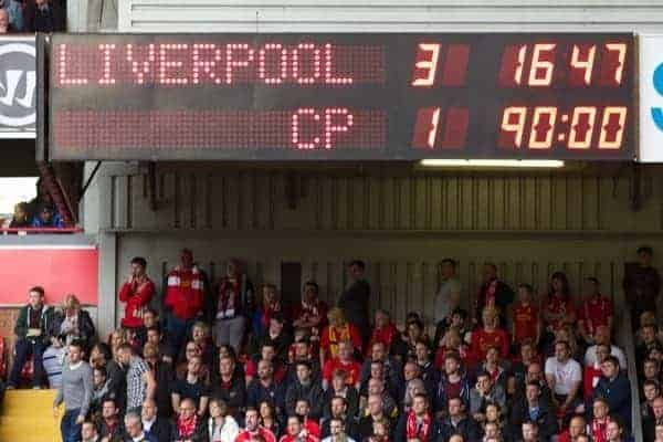 LIVERPOOL, ENGLAND - Saturday, October 5, 2013: The Anfield scoreboard records Liverpool's 3-1 victory over Crystal Palace during the Premiership match at Anfield. (Pic by David Rawcliffe/Propaganda)
