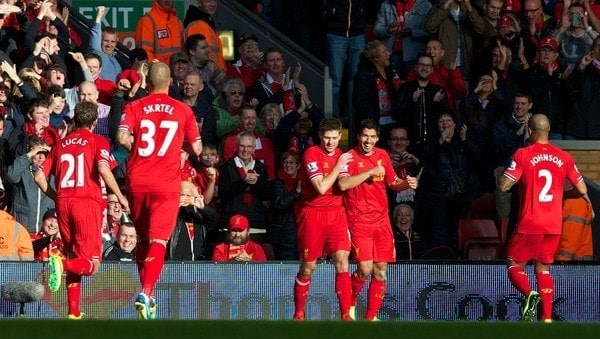 LIVERPOOL, ENGLAND - Saturday, October 26, 2013: Liverpool's Luis Suarez celebrates scoring the second goal against West Bromwich Albion during the Premiership match at Anfield. (Pic by David Rawcliffe/Propaganda)