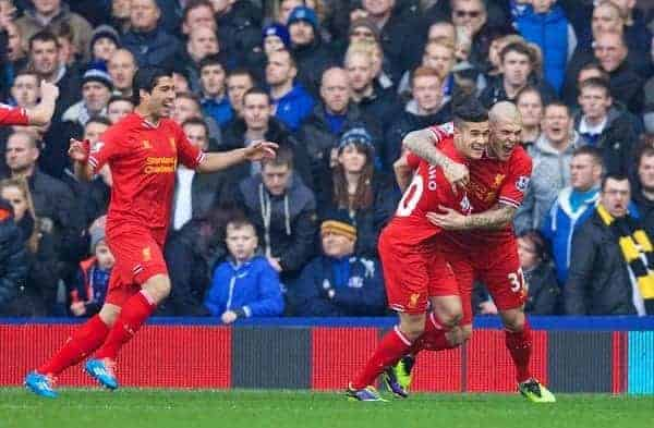 LIVERPOOL, ENGLAND - Saturday, November 23, 2013: Liverpool's Philippe Coutinho Correia celebrates scoring the first goal against Everton during the 221st Merseyside Derby Premiership match at Goodison Park. (Pic by David Rawcliffe/Propaganda)