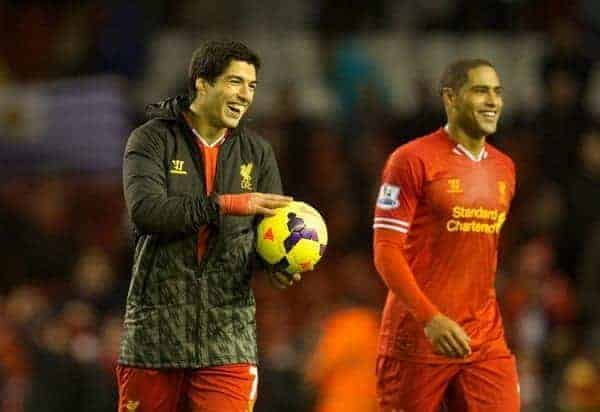 LIVERPOOL, ENGLAND - Wednesday, December 4, 2013: Liverpool's Luis Suarez walks off with the match-hall after his four goals helped seal a 5-1 victory against Norwich City during the Premiership match at Anfield. (Pic by David Rawcliffe/Propaganda)
