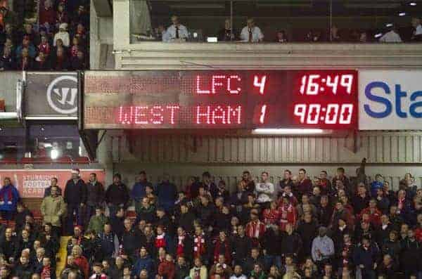 LIVERPOOL, ENGLAND - Saturday, December 7, 2013: Liverpool's scoreboard records the 4-1 victory over West Ham United during the Premiership match at Anfield. (Pic by David Rawcliffe/Propaganda)