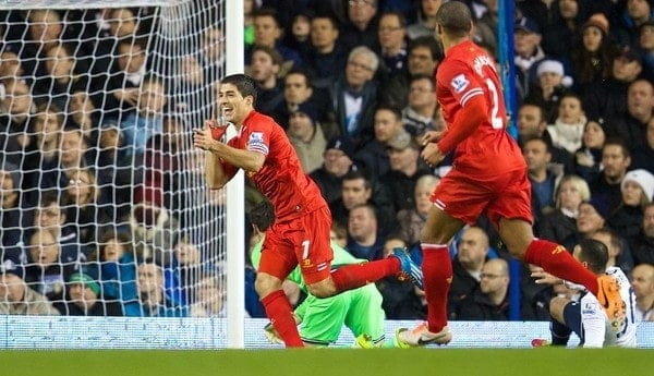 LONDON, ENGLAND - Sunday, December 15, 2013: Liverpool's Luis Suarez celebrates scoring the first goal against Tottenham Hotspur during the Premiership match at White Hart Lane. (Pic by David Rawcliffe/Propaganda)