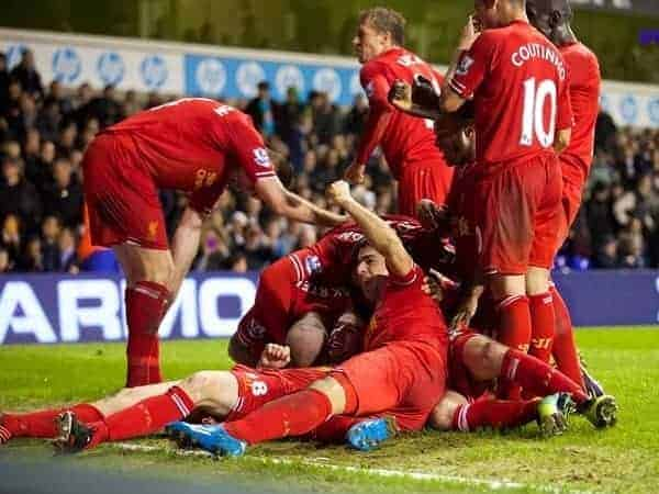 LONDON, ENGLAND - Sunday, December 15, 2013: Liverpool's Jon Flanagan celebrates scoring the third goal against Tottenham Hotspur during the Premiership match at White Hart Lane. (Pic by David Rawcliffe/Propaganda)