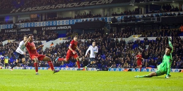 LONDON, ENGLAND - Sunday, December 15, 2013: Liverpool's Raheem Sterling scores the fifth goal against Tottenham Hotspur during the Premiership match at White Hart Lane. (Pic by David Rawcliffe/Propaganda)