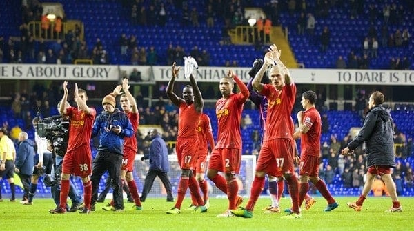 LONDON, ENGLAND - Sunday, December 15, 2013: Liverpool's players applaud the travelling supporters after the 5-0 victory over Tottenham Hotspur during the Premiership match at White Hart Lane. (Pic by David Rawcliffe/Propaganda)