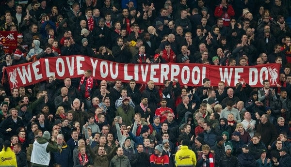 MANCHESTER, ENGLAND - Boxing Day Thursday, December 26, 2013: Liverpool supporters' banner during the Premiership match against Manchester City at the City of Manchester Stadium. (Pic by David Rawcliffe/Propaganda)