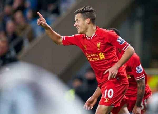 MANCHESTER, ENGLAND - Boxing Day Thursday, December 26, 2013: Liverpool's Philippe Coutinho Correia celebrates scoring the first goal against Manchester City during the Premiership match at the City of Manchester Stadium. (Pic by David Rawcliffe/Propaganda)