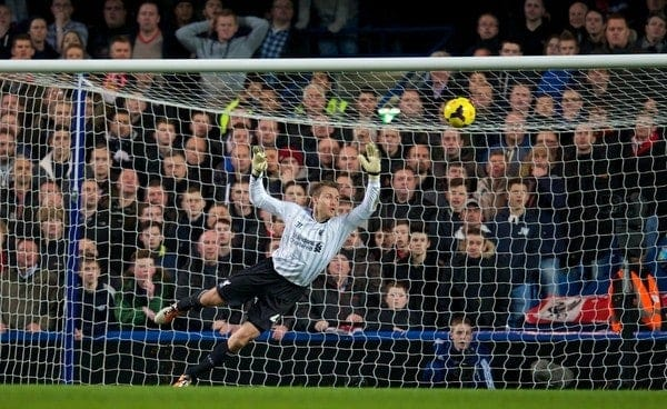 LONDON, ENGLAND - Sunday, December 29, 2013: Liverpool's goalkeeper Simon Mignolet is helpless to prevent Chelsea scoring the first equalising goal to level the score at 1-1 during the Premiership match at Stamford Bridge. (Pic by David Rawcliffe/Propaganda)