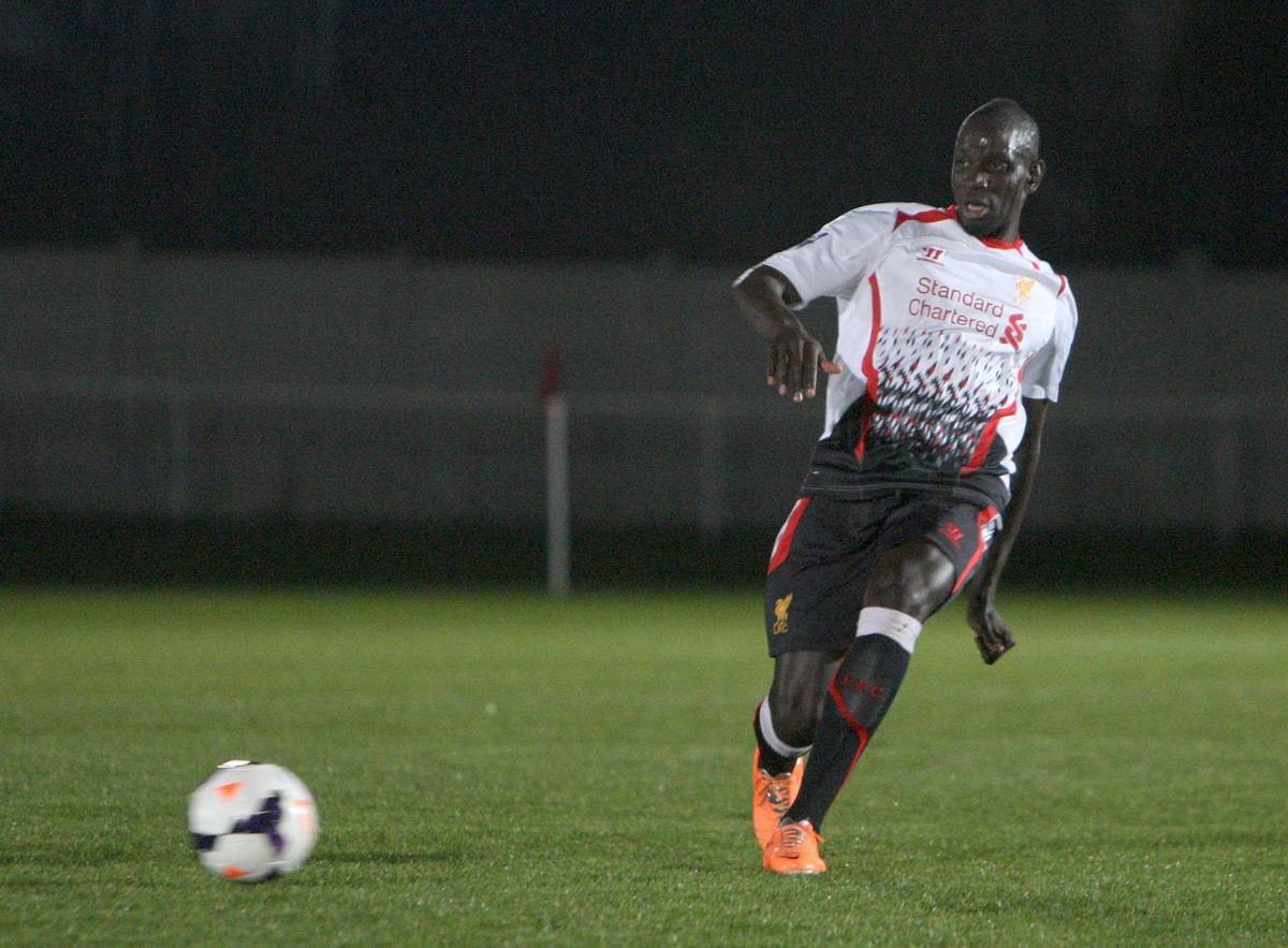 LIVERPOOL, ENGLAND - Friday, March 7, 2014: Liverpool's Mamadou Sakho in action against West Ham United during the Under 21 FA Premier League match at the Rush Green Stadium. (Pic by Nicky Hayes/Propaganda)