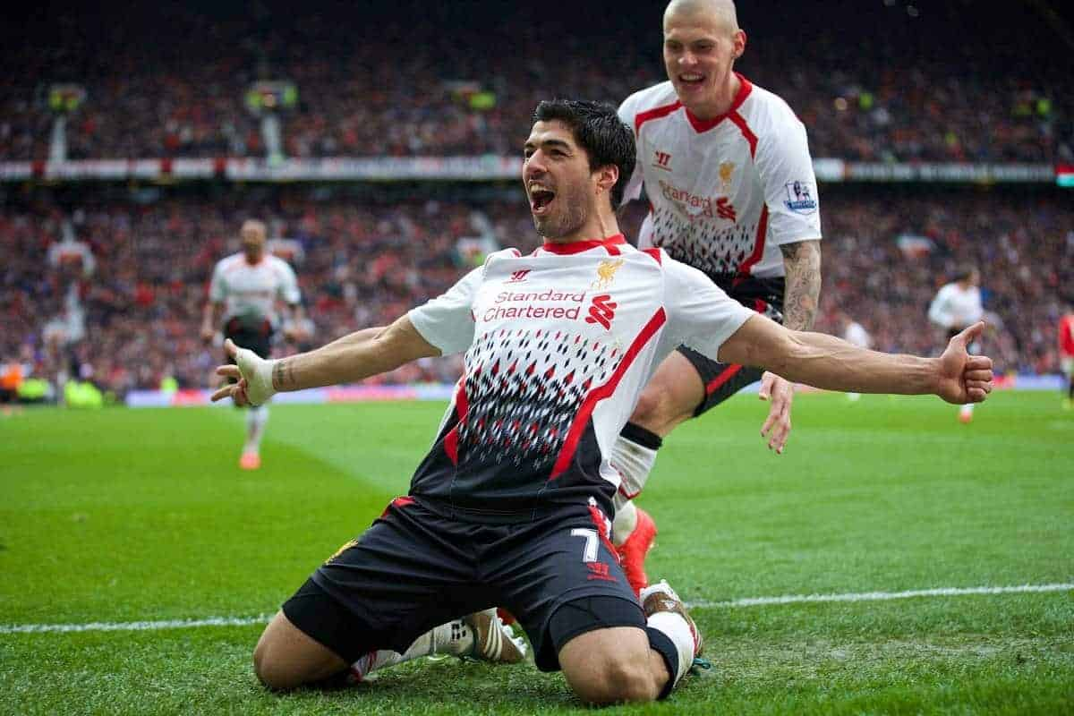 MANCHESTER, ENGLAND - Sunday, March 16, 2014: Liverpool's Luis Suarez celebrates scoring the third goal against Manchester United during the Premiership match at Old Trafford. (Pic by David Rawcliffe/Propaganda)