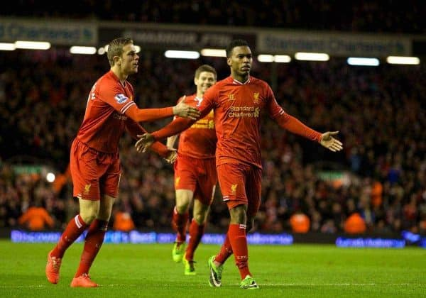 LIVERPOOL, ENGLAND - Wednesday, March 26, 2014: Liverpool's Daniel Sturridge celebrates scoring the second goal against Sunderland during the Premiership match at Anfield. (Pic by David Rawcliffe/Propaganda)