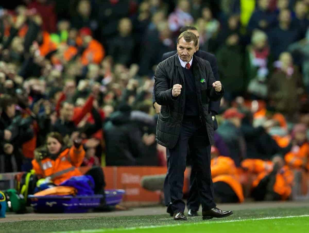 LIVERPOOL, ENGLAND - Wednesday, March 26, 2014: Liverpool's manager Brendan Rodgers celebrates after his side's 2-1 victory over Sunderland during the Premiership match at Anfield. (Pic by David Rawcliffe/Propaganda)