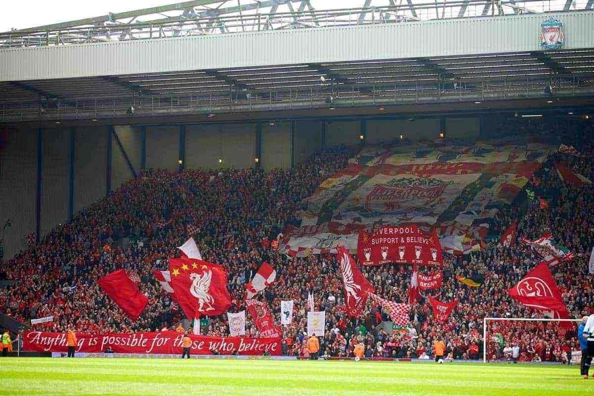 LIVERPOOL, ENGLAND - Sunday, March 30, 2014: Liverpool supporters on the Spion Kop before the Premiership match against Tottenham Hotspur at Anfield. (Pic by David Rawcliffe/Propaganda)
