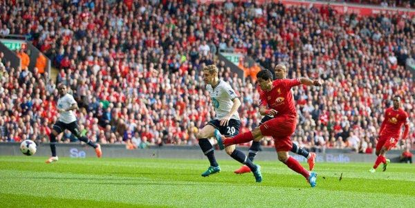 LIVERPOOL, ENGLAND - Sunday, March 30, 2014: Liverpool's Luis Suarez scores the second goal against Tottenham Hotspur during the Premiership match at Anfield. (Pic by David Rawcliffe/Propaganda)