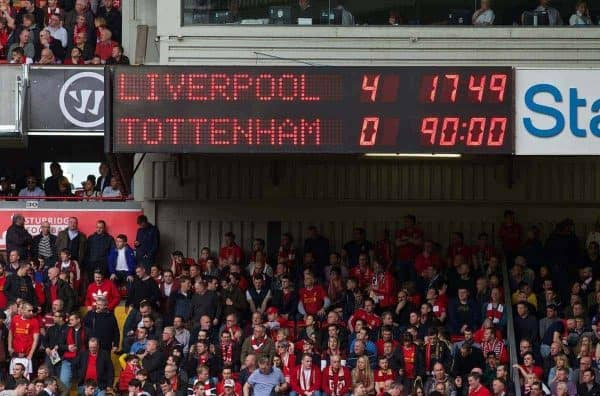 LIVERPOOL, ENGLAND - Sunday, March 30, 2014: Liverpool's scoreboard records the 4-0 victory over Tottenham Hotspur during the Premiership match at Anfield. (Pic by David Rawcliffe/Propaganda)