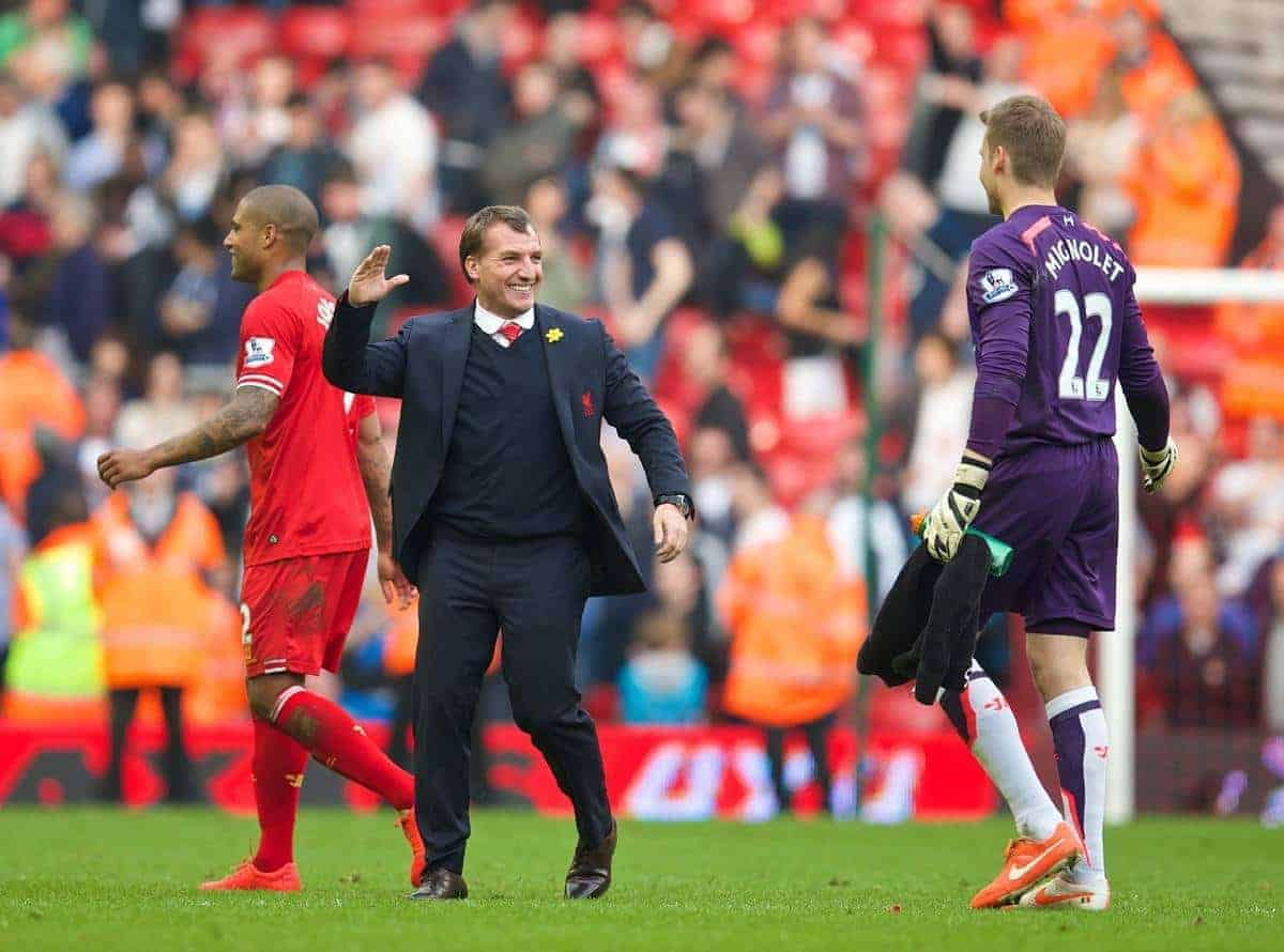 LIVERPOOL, ENGLAND - Sunday, March 30, 2014: Liverpool's manager Brendan Rodgers celebrates his side's 4-0 victory over Tottenham Hotspur with goalkeeper Simon Mignolet during the Premiership match at Anfield. (Pic by David Rawcliffe/Propaganda)