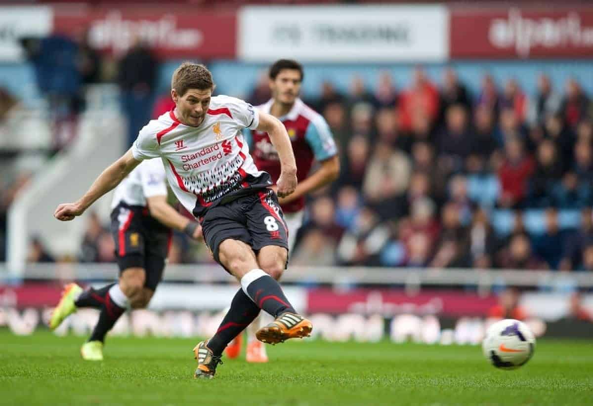 LONDON, ENGLAND - Sunday, April 6, 2014: Liverpool's captain Steven Gerrard scores the first goal against West Ham United form the penalty spot during the Premiership match at Upton Park. (Pic by David Rawcliffe/Propaganda)