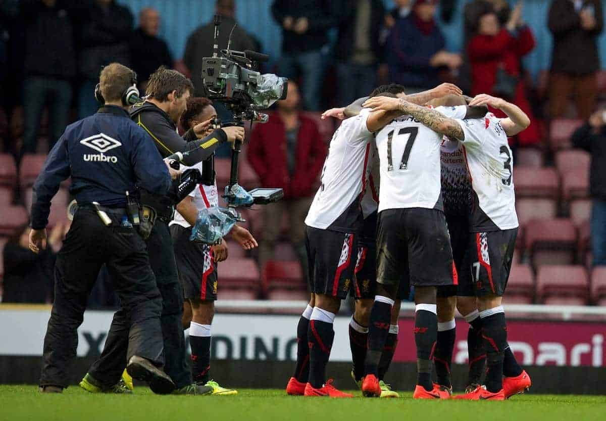 LONDON, ENGLAND - Sunday, April 6, 2014: Liverpool's players celebrate after beating West Ham United 2-1 during the Premiership match at Upton Park. (Pic by David Rawcliffe/Propaganda)