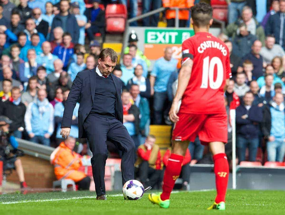 LIVERPOOL, ENGLAND - Sunday, April 13, 2014: Liverpool's manager Brendan Rodgers during the Premiership match against Manchester City at Anfield. (Pic by David Rawcliffe/Propaganda)