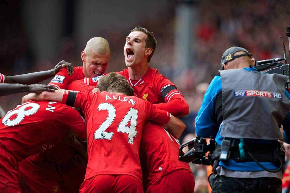LIVERPOOL, ENGLAND - Sunday, April 13, 2014: Liverpool's Philippe Coutinho Correia celebrates scoring the third goal against Manchester City during the Premiership match at Anfield. (Pic by David Rawcliffe/Propaganda)