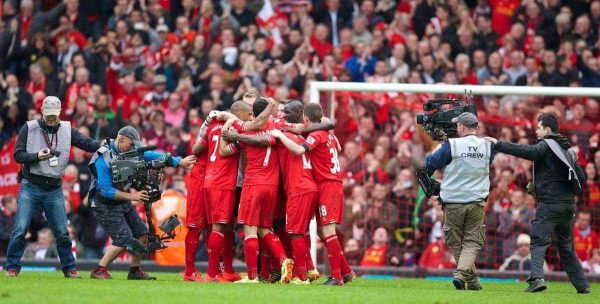 LIVERPOOL, ENGLAND - Sunday, April 13, 2014: Liverpool players celebrate their 3-2 victory over Manchester City during the Premiership match at Anfield. (Pic by David Rawcliffe/Propaganda)