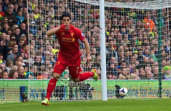 NORWICH, ENGLAND - Sunday, April 20, 2014: Liverpool's Luis Suarez celebrates scoring the second goal against Norwich City during the Premiership match at Carrow Road. (Pic by David Rawcliffe/Propaganda)