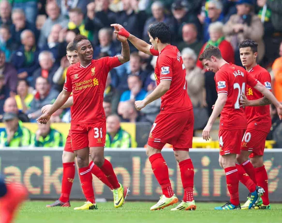 NORWICH, ENGLAND - Sunday, April 20, 2014: Liverpool's Raheem Sterling celebrates scoring the third goal against Norwich City during the Premiership match at Carrow Road. (Pic by David Rawcliffe/Propaganda)