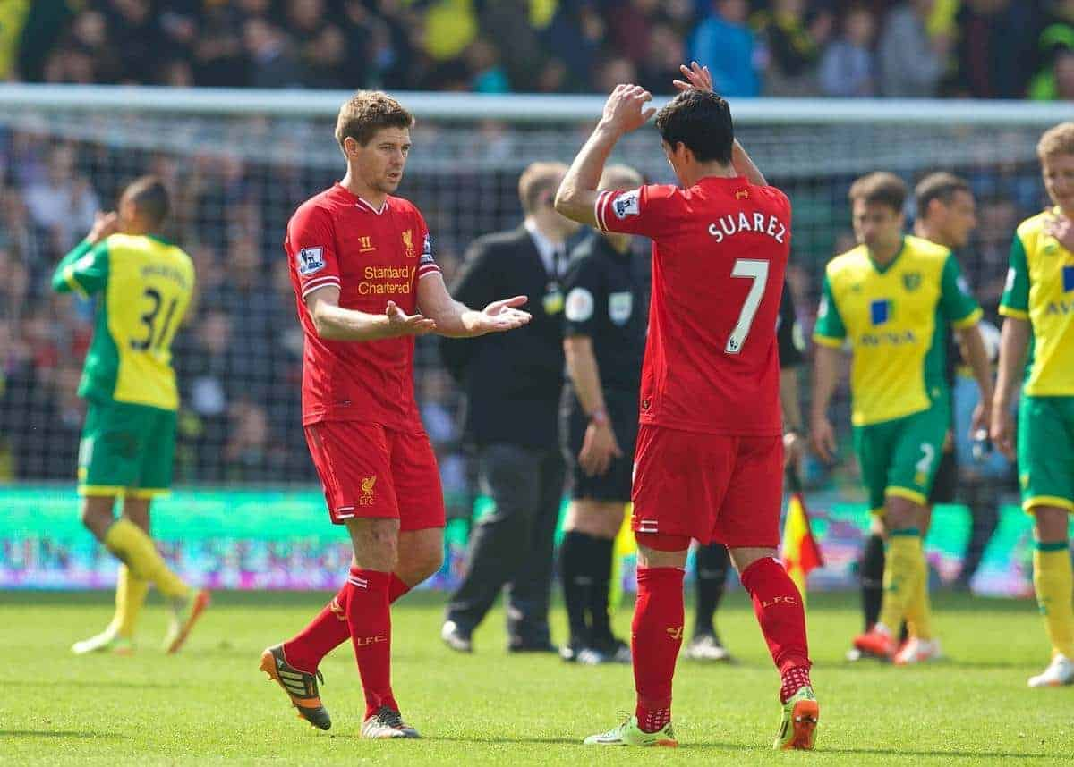NORWICH, ENGLAND - Sunday, April 20, 2014: Liverpool's captain Steven Gerrard and Luis Suarez celebrate their side's 3-2 victory over Norwich City during the Premiership match at Carrow Road. (Pic by David Rawcliffe/Propaganda)