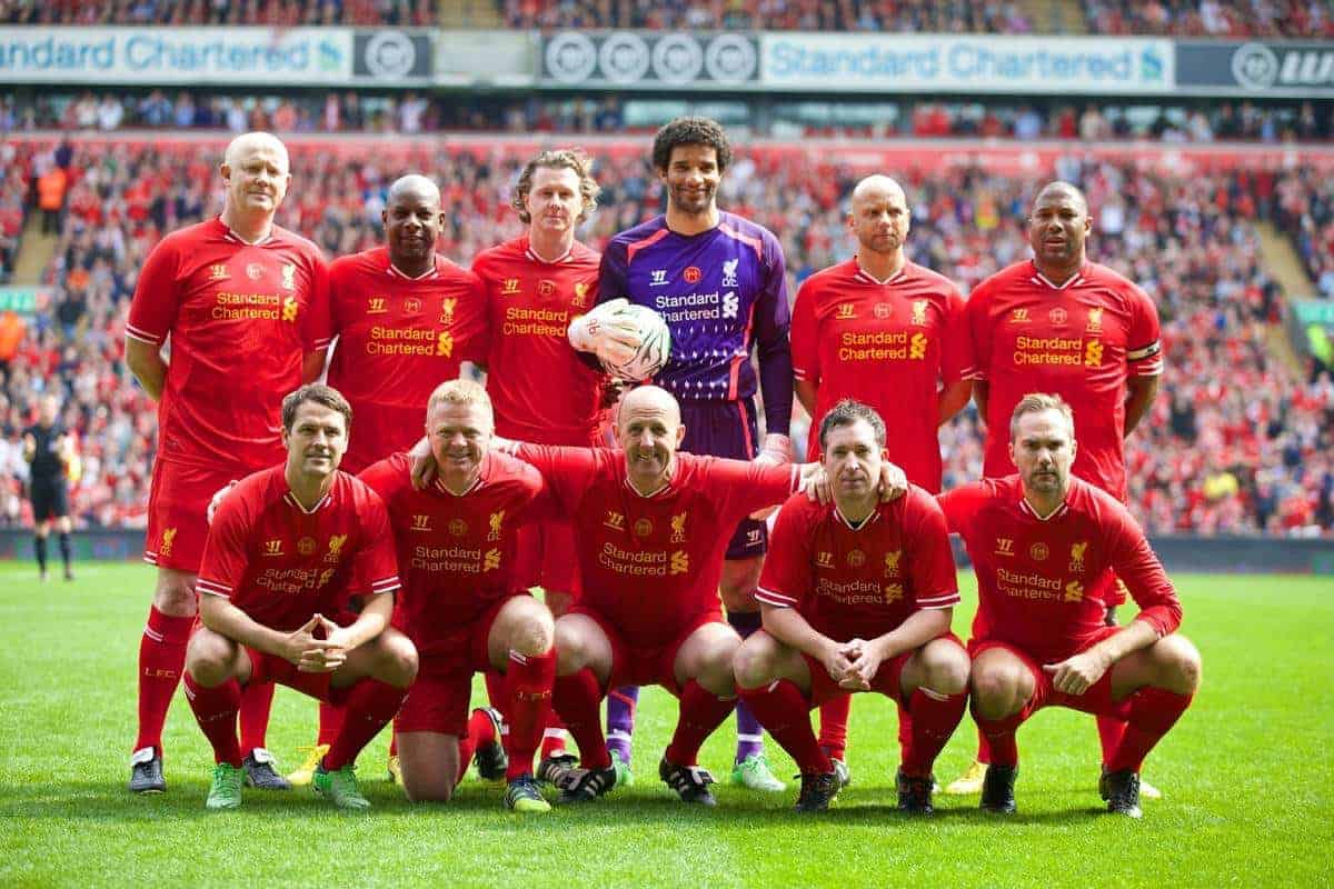 LIVERPOOL, ENGLAND - Easter Monday, April 21, 2014: Liverpool players line up for a team group photograph before the Celebration of the 96 match at Anfield. Back row L-R: Mark Wright, Michael Thomas, Steve McManaman, David James, Rob Jones, John Barnes. Front row L-R: Michael Owen, David Burrows, Gary McAllister, Robbie Fowler, Jason McAteer. (Pic by David Rawcliffe/Propaganda)